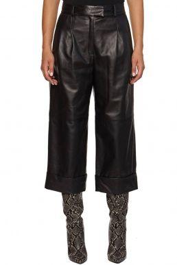 Pantalone Chaco modello cropped in vera pelle nera - CoutūA/W 20/21 20/21
